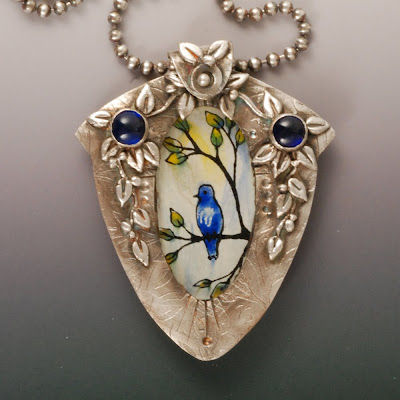 Vickie Hallmark hand-painted enamel bird on glass fine silver pendant