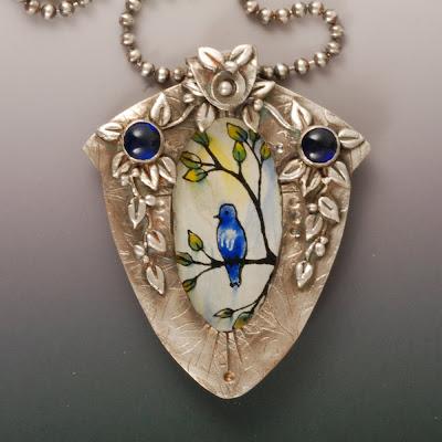 Vickie Hallmark hand-painted enamel bird on glass fine silver pendant
