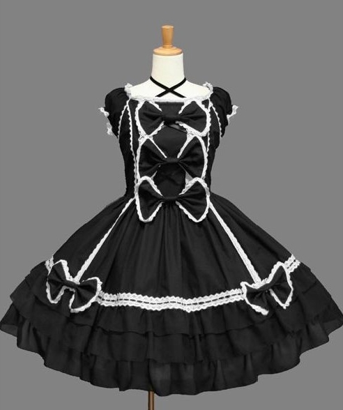 Black and White Crossing Strap Gothic Lolita Dress