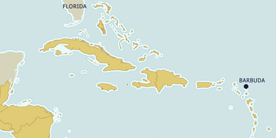 Barbuda on the map