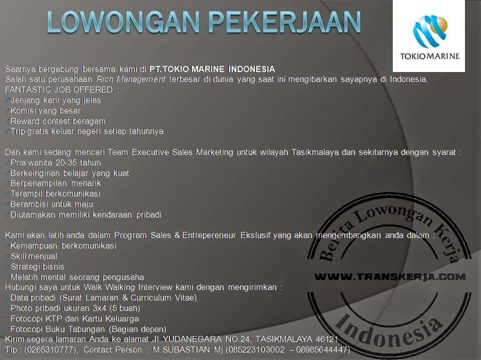 Lowongan kerja PT. Tokio Marine Indonesia