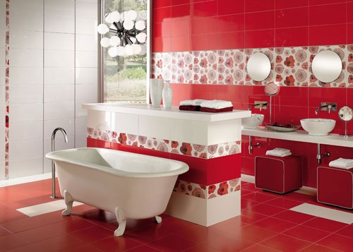Decoracion Baño Rosado:Red Bathroom Tiles Idea