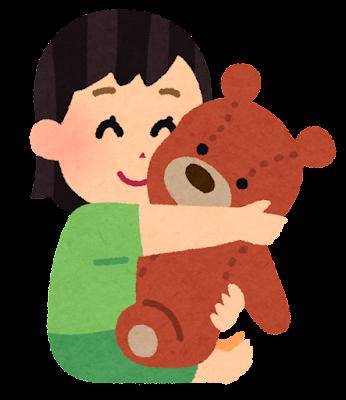 ぬいぐるみを抱く女の子のイラスト