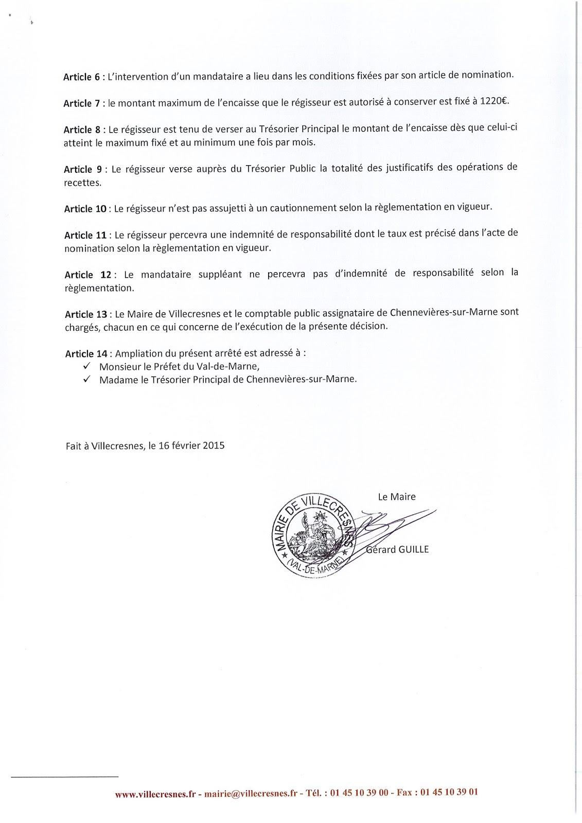 2015-009 Modification de l'acte constitutif de régie de recettes - cimetière communal
