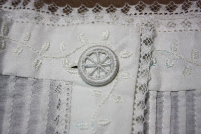 Dorset button on Victorian chemise
