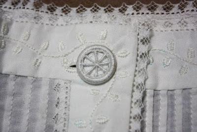 Dorset button on Victorian chemise