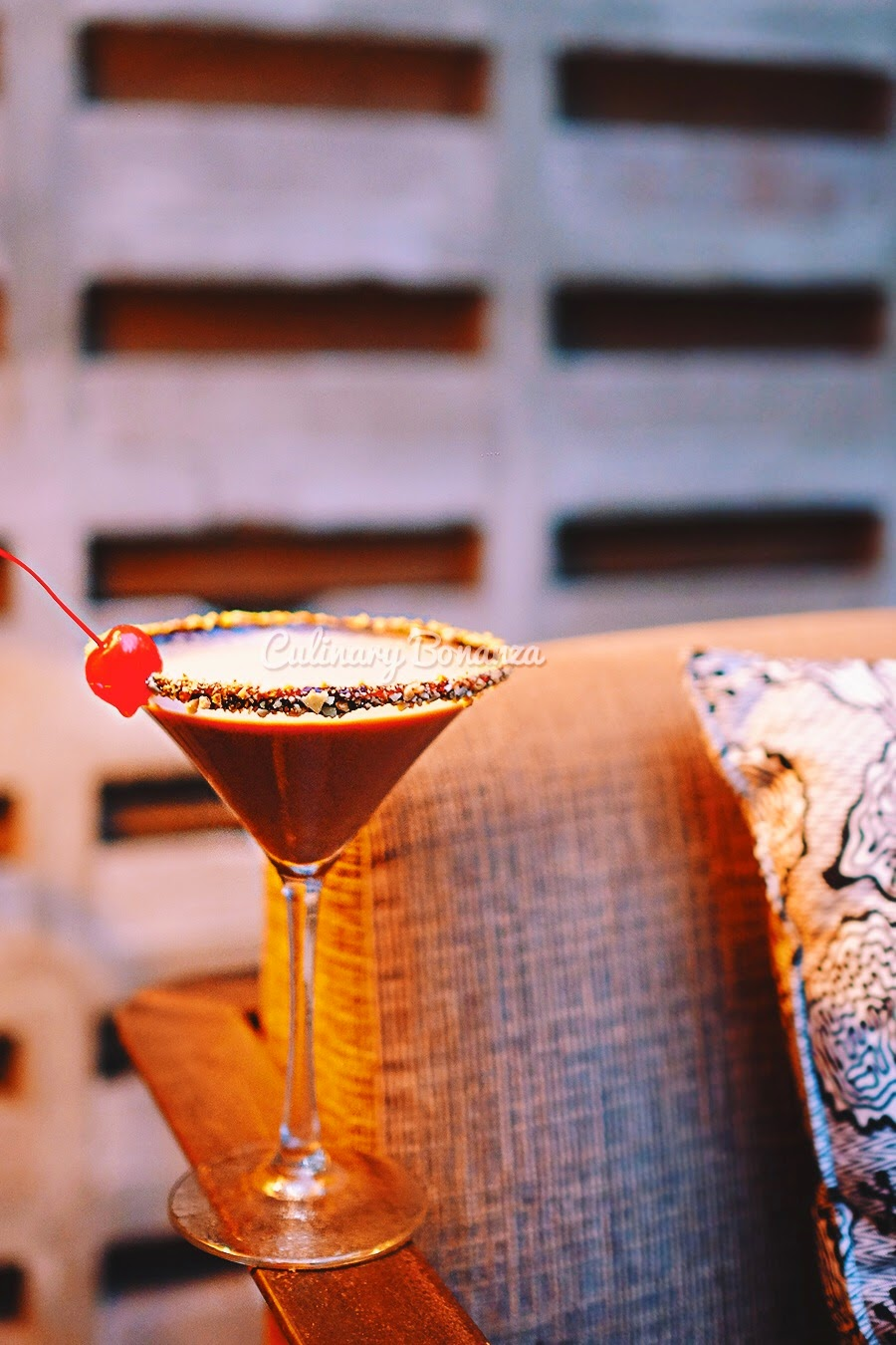 Toblerone Chocotini (infused vanilla vodka with chocolate, cacao white and baileys)