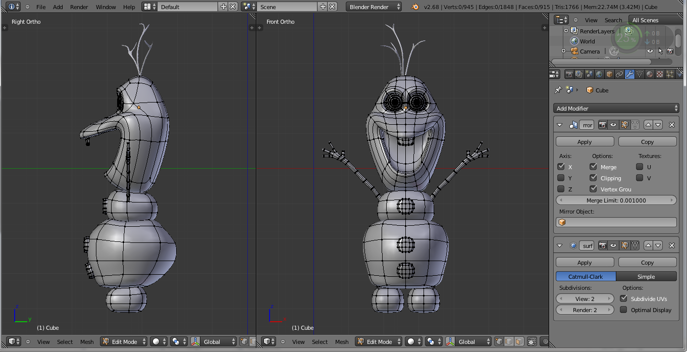 Blender Character Modeling 8 Of 10 : Creative and challenge olaf character frozen movie d