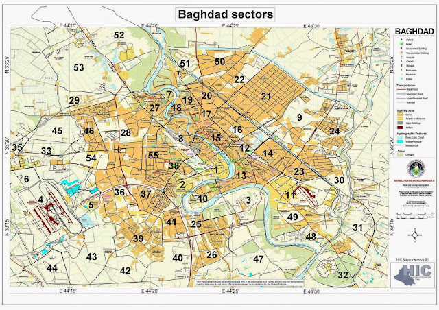 Detailed Baghdad map showing city sectors
