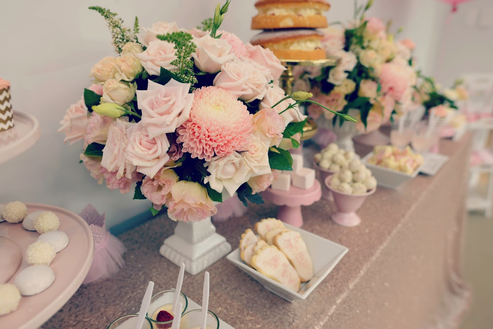 baby shower flowers a gold and pink party