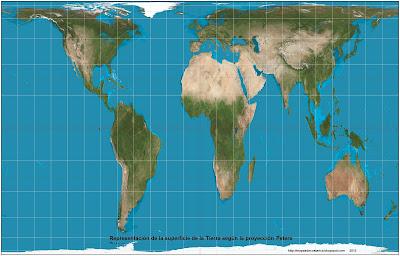 2. Representacion de la superficie de la Tierra segun la, Proyección Peters, 2058 x 1314 px