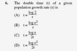 2012 June UGC NET in Population Studies, Paper II, Question 6