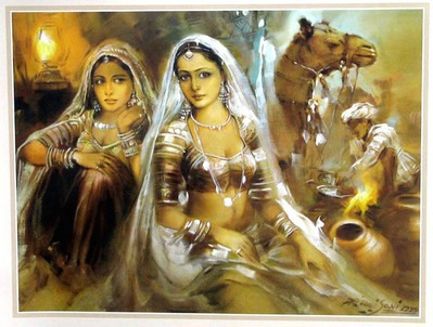 Rajasthani Girls Art Paintings2