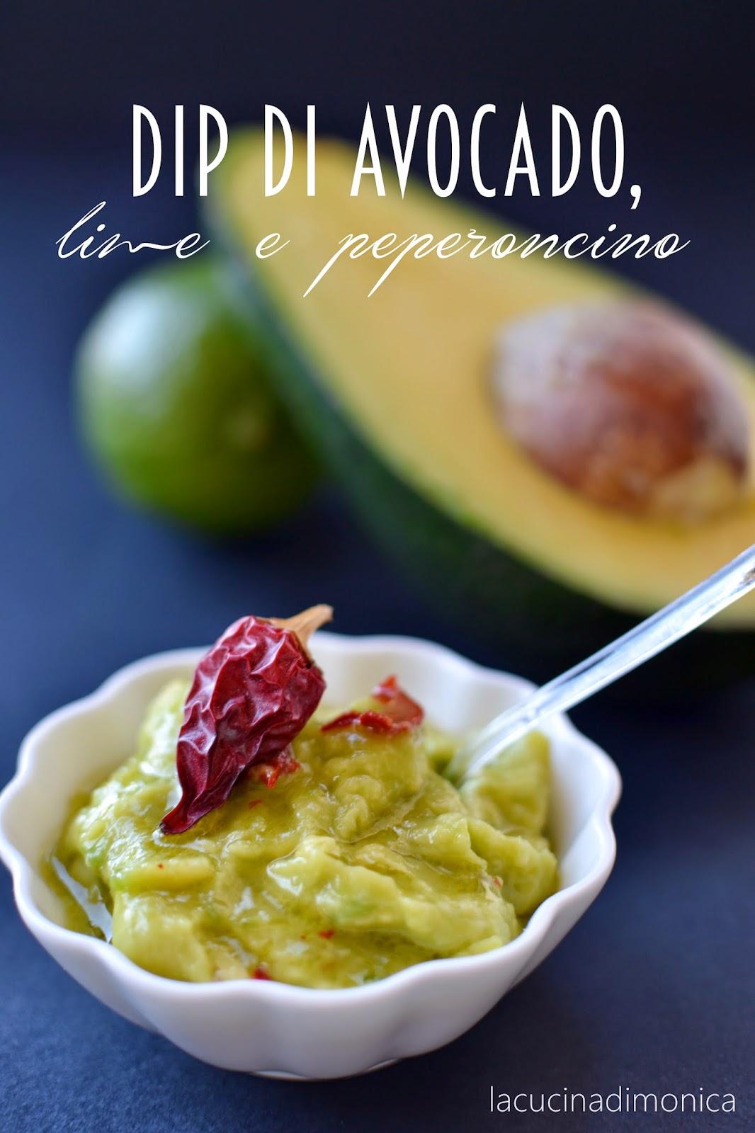 dip di avocado,lime e peperoncino