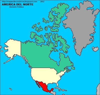 Mapa de la divison politica de Norteamerica
