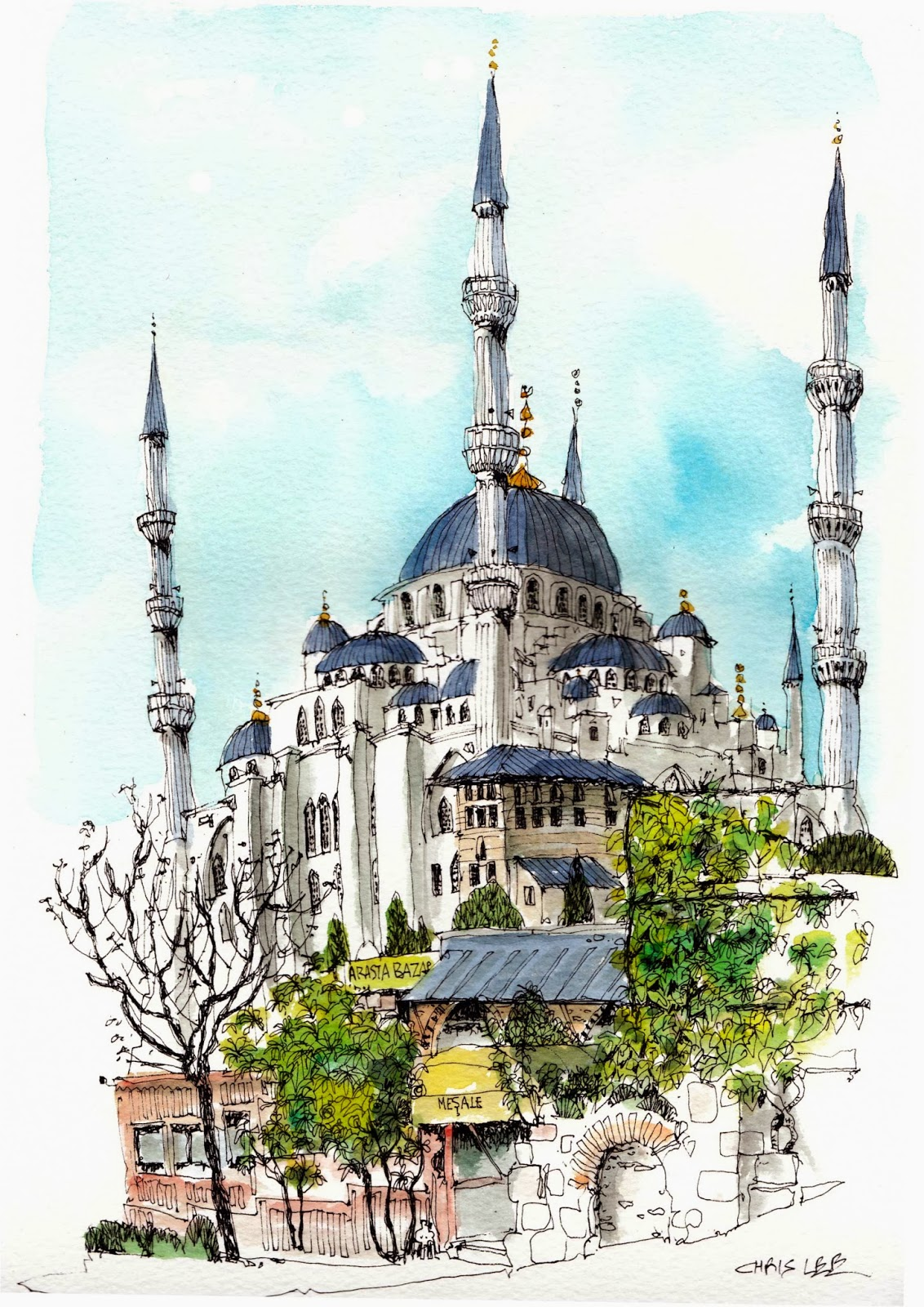 Mosque Drawing Images Blue Mosque Drawing