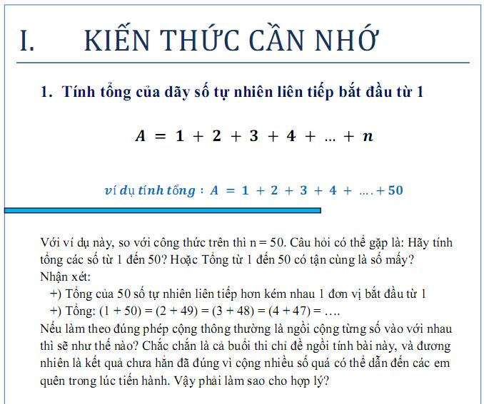 Tính tổng các dãy số - toán nâng cao lớp 5