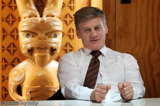 Bill English, the finance minister, National government, at Te Aranga Marae, Flaxmere, Hastings, speaking at a meeting to discuss a community housing proposal. photograph