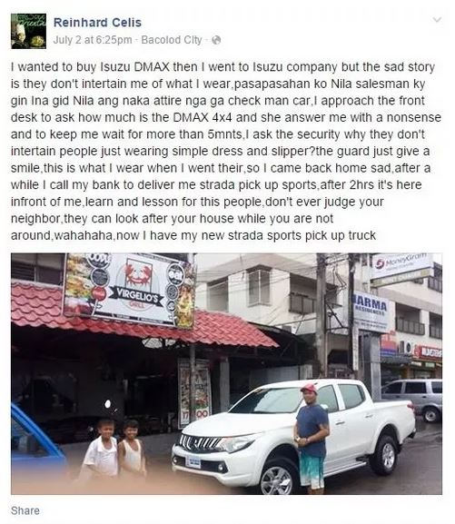He was ignored at Isuzu Bacolod because of his appearance.