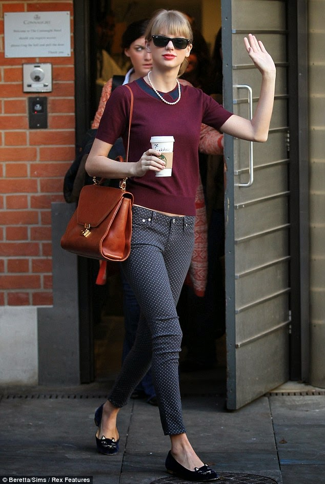 Taylor Swift Steps Out In Skintight Polka Dot Jeans