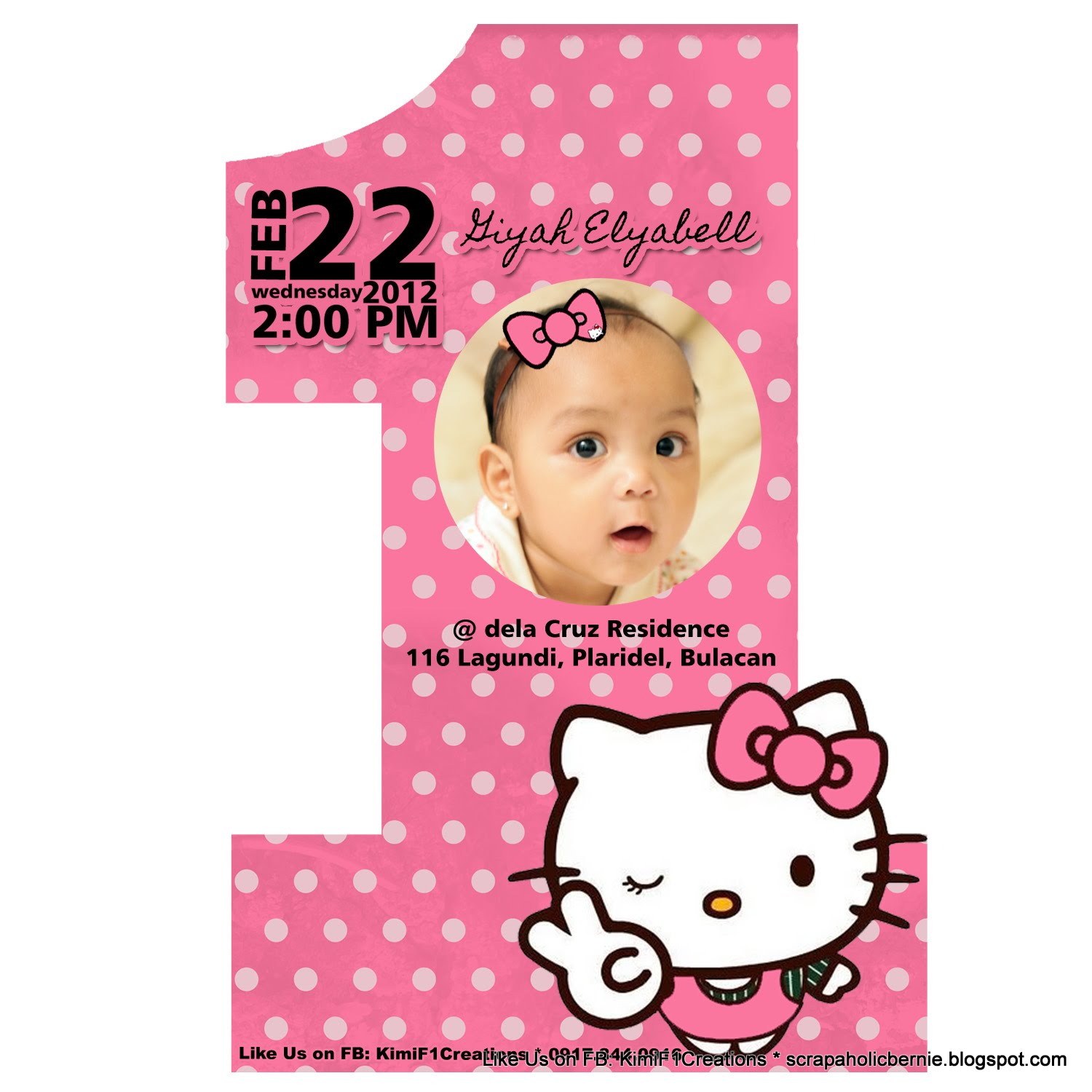 Hello Kitty 1st Birthday 2 Page Invitation