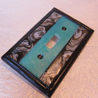 Art Deco aqua switch plate cover