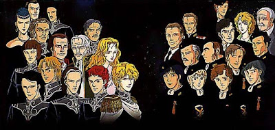 A promotional image showing off most of the main characters in the show from the Free Planets Alliance and the Galactic Empire both.