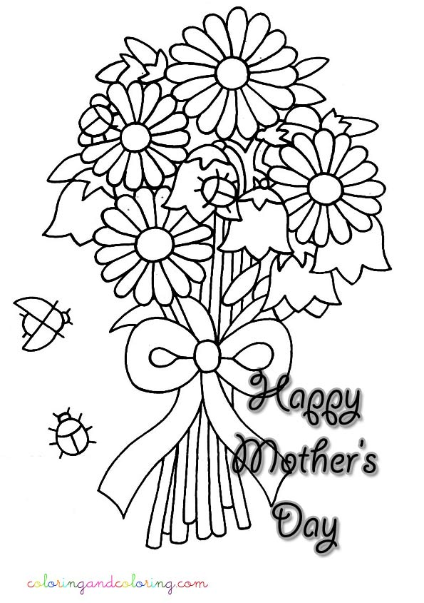 Coloring bouquet of flowers for mom