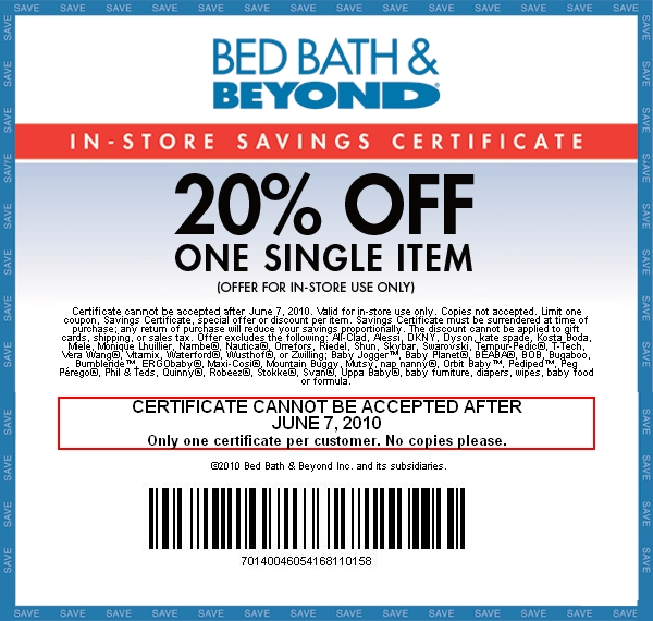 Sep 30,  · Printable In Store: Get a 20% printable coupon for bed bath and beyond through their facebook page. First time email subscribers get a 20% off one item in-store Savings coupon. First time email subscribers get a 20% off one item in-store Savings coupon/5(32).