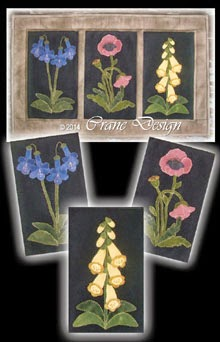 "English Flower Garden Wool Applique Wall Hanging 16"" by 27"""