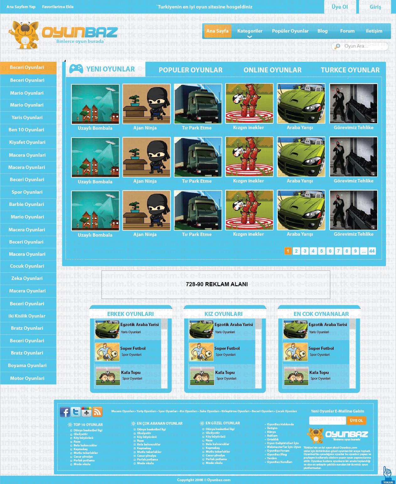 Flash oyun sitesi arayüz tasarımı