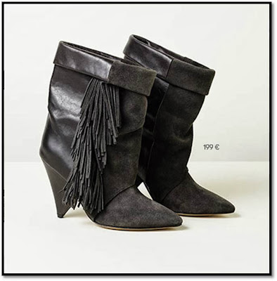 Collaboration H&M x Isabel Marant : Lookbook femes bottes franges talons bi-matière cuir daim