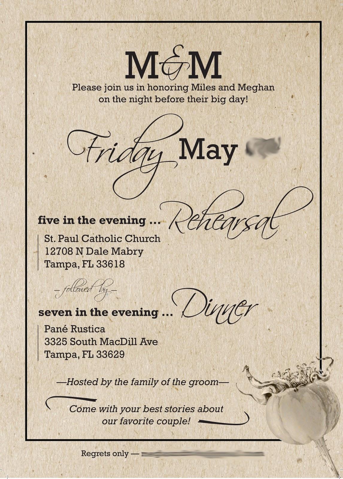 Casual Wedding Dinner Invitation Wording Yaseen for