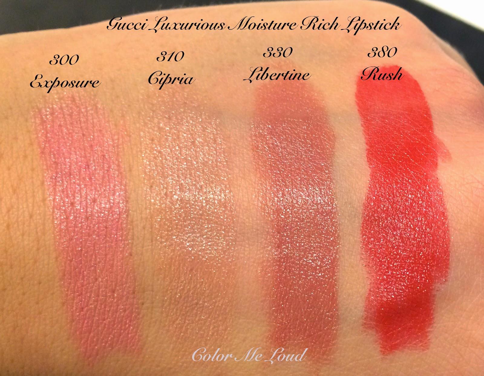 Gucci Luxurious Moisture Rich Lipstick in Exposure, Cipria, Libertine and Rush