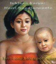 Lukisan Wajah Ibu Anak Kasih sayang