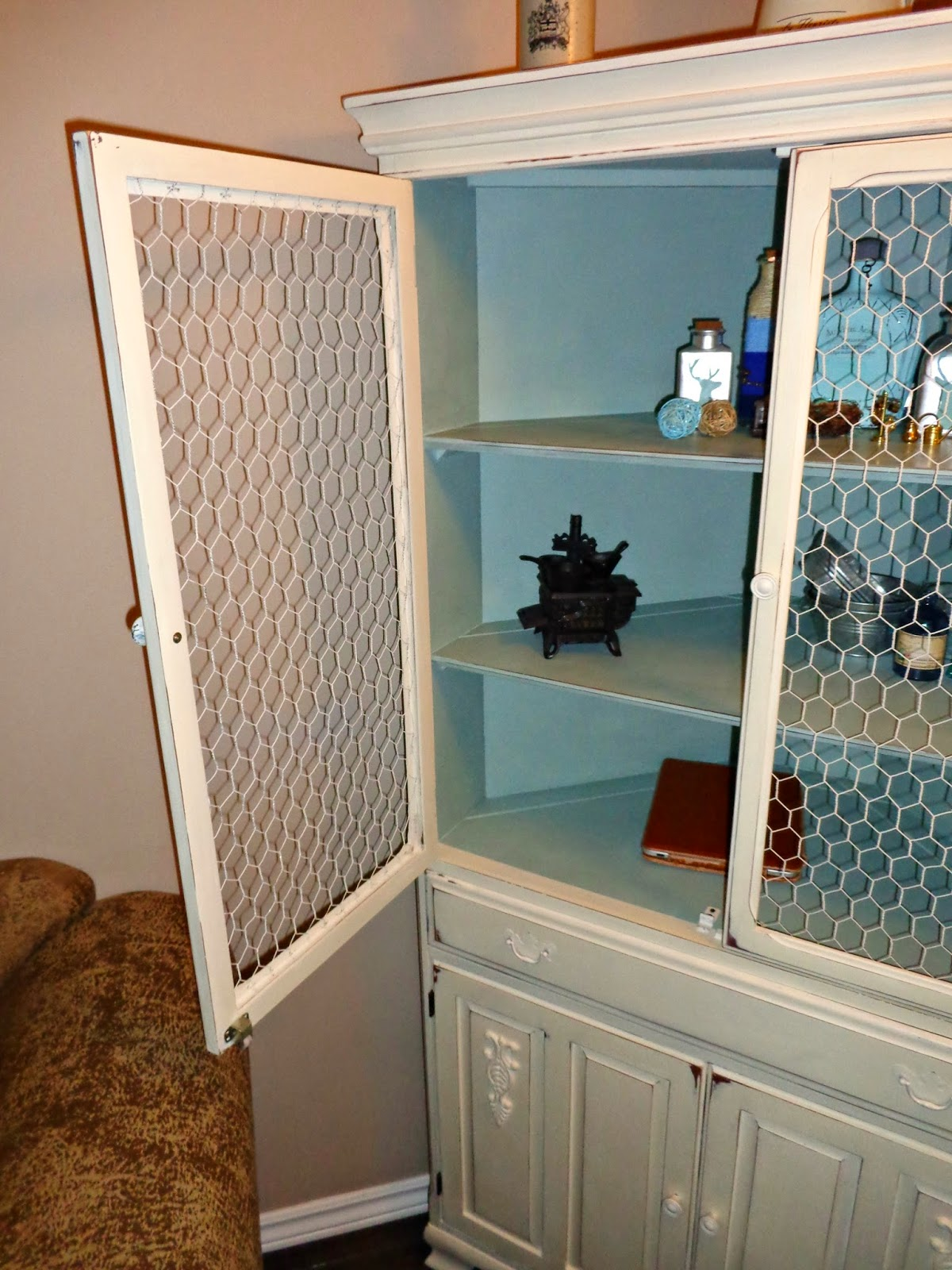 Lavender Painted China Cabinet