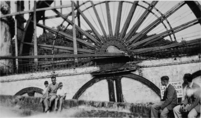 Old Phot of The Laxey Wheel isle of Man