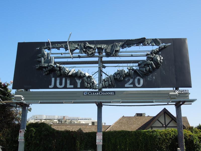 Dark Knight Rises Bat Sign billboard installation