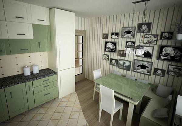 Dinding Aksen Garis-Garis untuk Ruang Makan