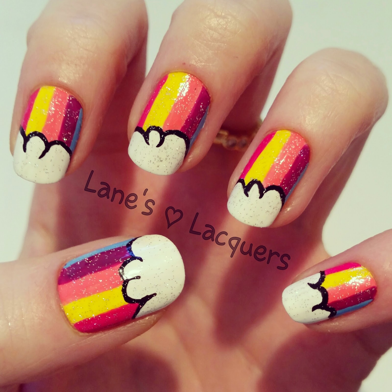 barry-m-cute-kawaii-rainbow-cloud-glitter-nail-art