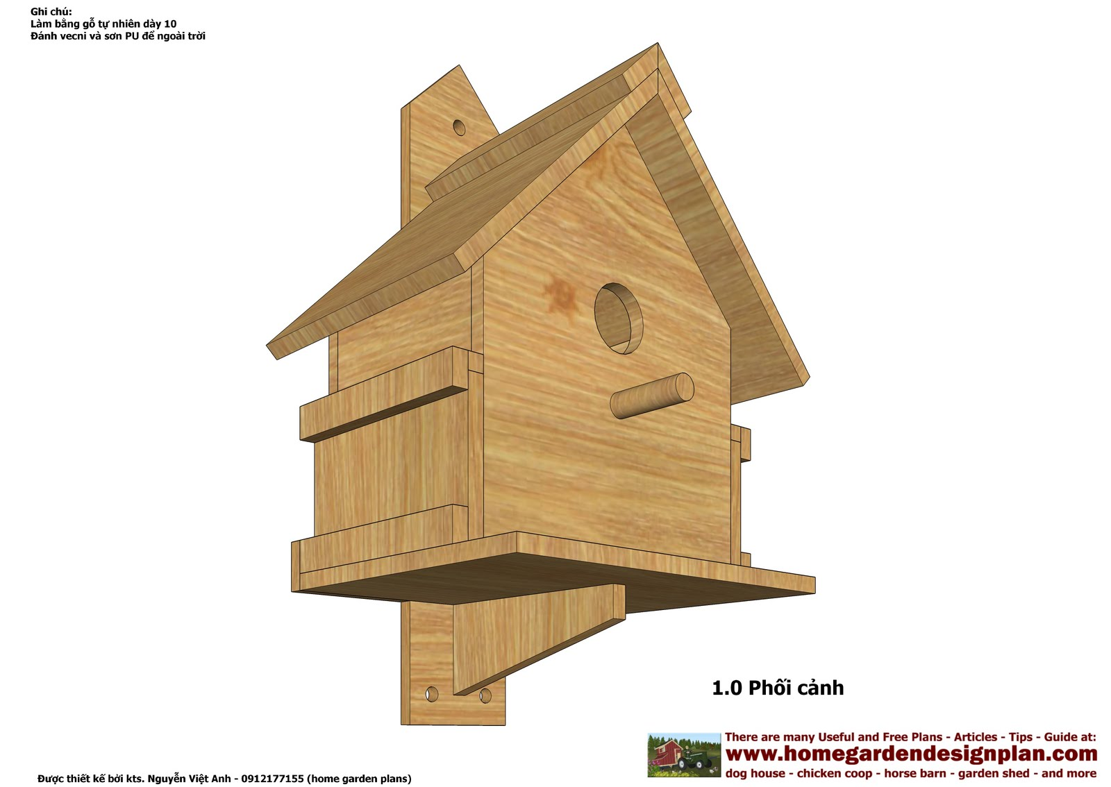 Home garden plans bh100 bird house plans construction Blueprints of houses to build