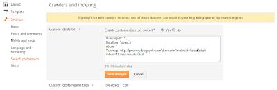 Bagaimana Cara Menambahkan Google Sitemap ke Blogger - Custom Robot.txt