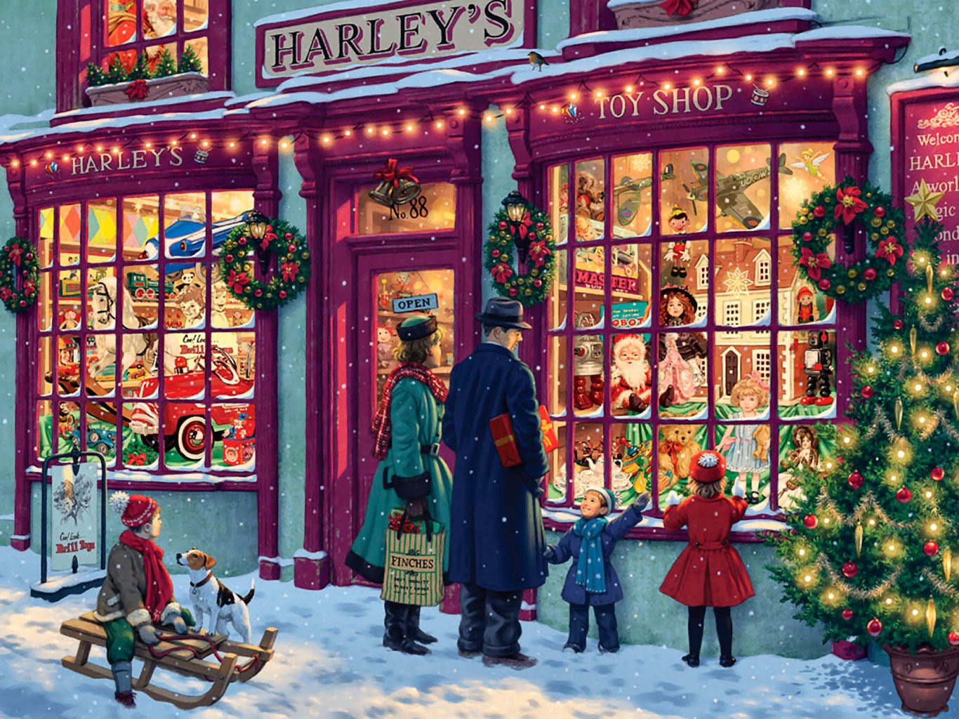 Classic vintage style christmas celebration paintings for for The christmas shop