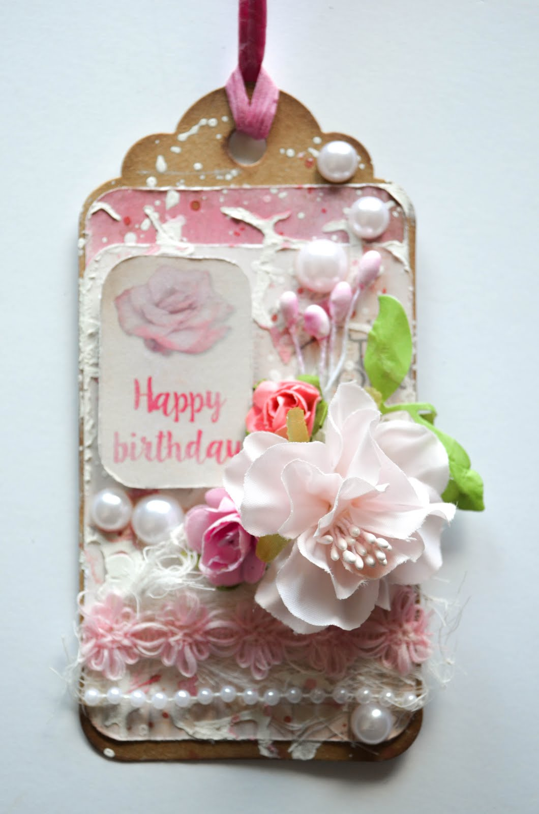 Shabby Chic Pink And Black Mixed Media Birthday Tags With Texture Paste Cheesecloth