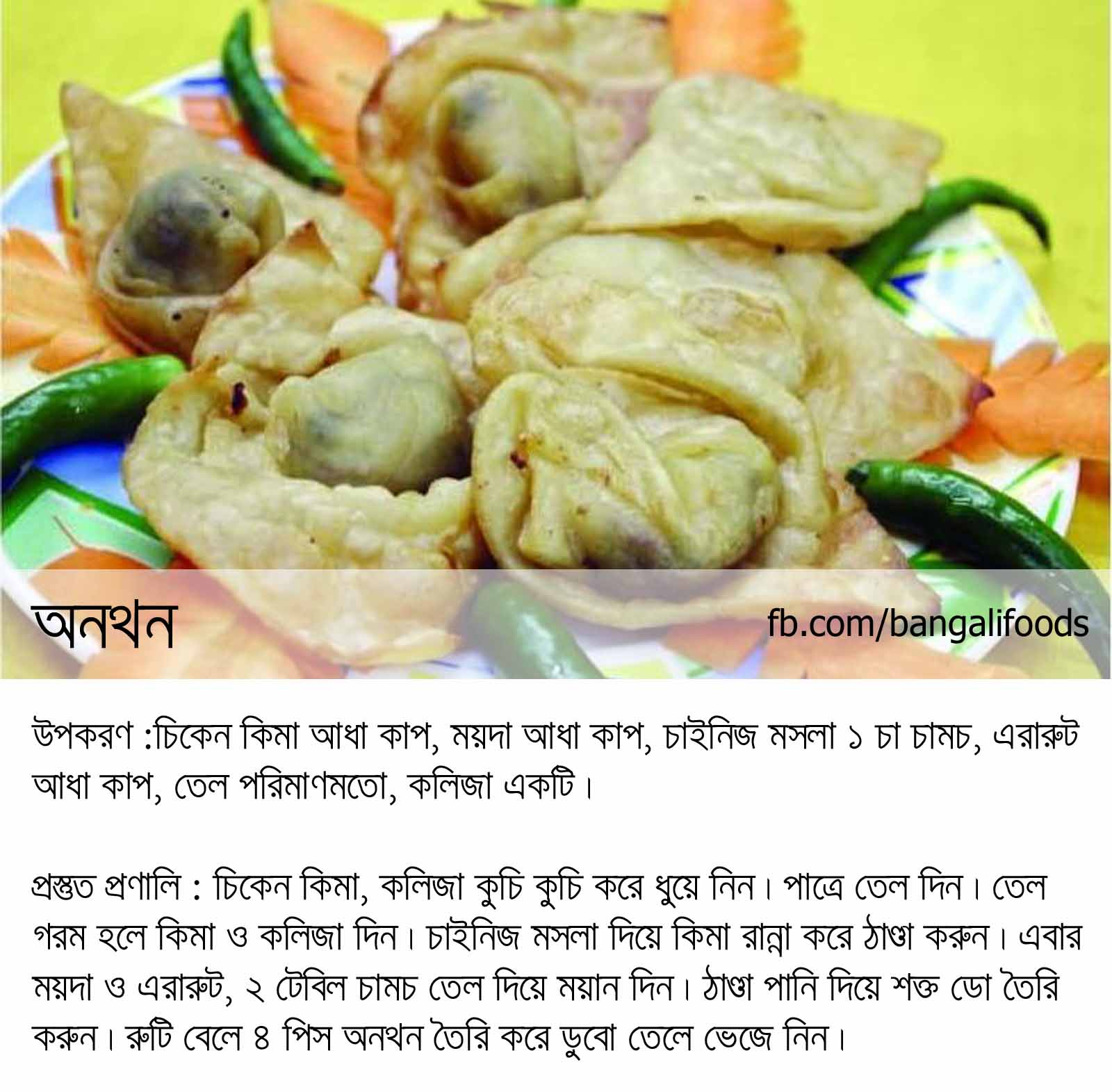 Bangali foods snack food recipes in bengali wonton with chicken in bangla language forumfinder Gallery