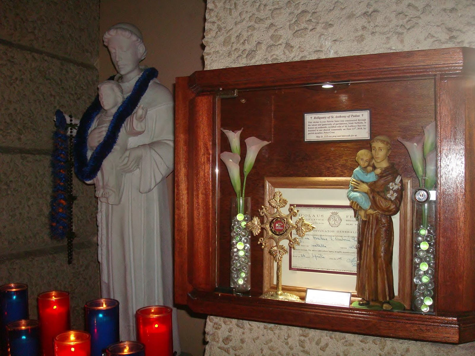 The votive shrine of st anthony of padua in the church of st anthony in kailua oahu hi