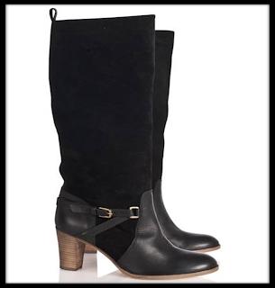 Bottes noires à talon bi-matière cuir et daim Comptoir des Cotonniers hiver 2012