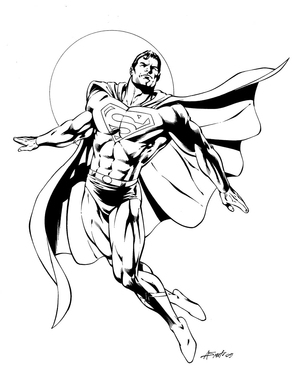 Desenho para colorir do super man o heroi da marvel super for Super man coloring page