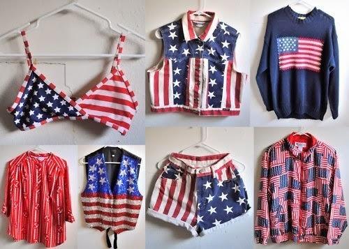 Blusas, tops, casacos, camisas e shorts com estampas das bandeiras dos Estados Unidos e Inglaterra