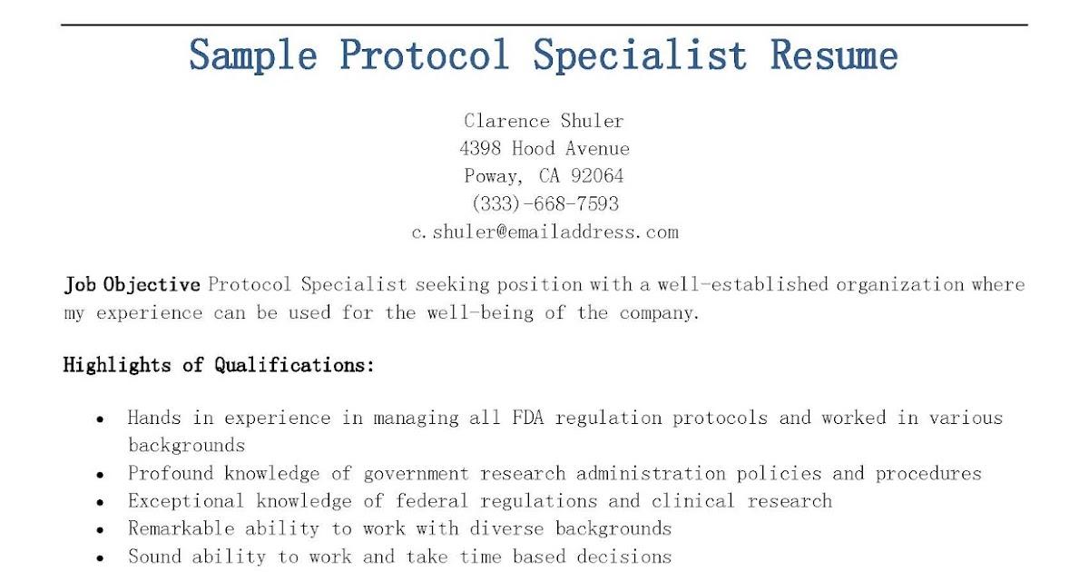 resume samples  sample protocol specialist resume